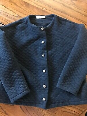 Zara Girls Size 11/12 Quilted Sweater Jacket Navy Blue Cute Buttons Very Soft