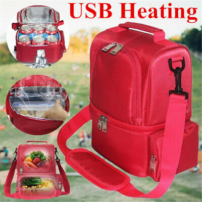 12L USB Heating Lunch Box Insulation Bag Double Layer Food Heating Travel Bag