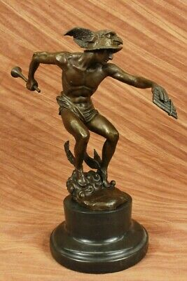 Nude Flying Mercury Bronze Statue Marble Sculpture Art Deco Roman Mythical Decor