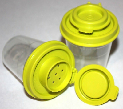 Tupperware S&P Set Liquid Tight Seals Midgets Salt & Pepper Shakers Clear New