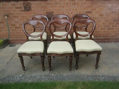Set of 6 Antique Victorian Mahogany Balloon Backed Dining Chairs