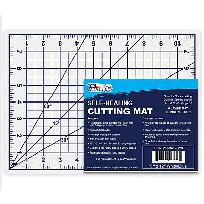 """9"""" x 12"""" WHITE/BLUE Self Healing 6-Ply Double Sided Durable PVC Cutting Mat"""