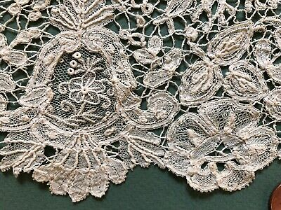 Unusual Mixed Brussels Duchesse bobbin Point de Gaze needle lace edge