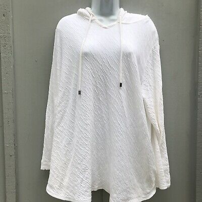 47f34f92a52 Pure Jill J.Jill Hooded White Textured Pullover Top Pockets Women's L Cotton