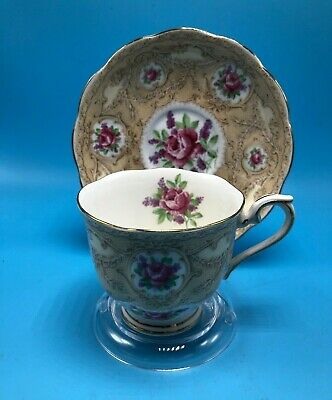 VINTAGE Rare Royal Albert Crown China Devonshire Lace Cup & Saucer, England
