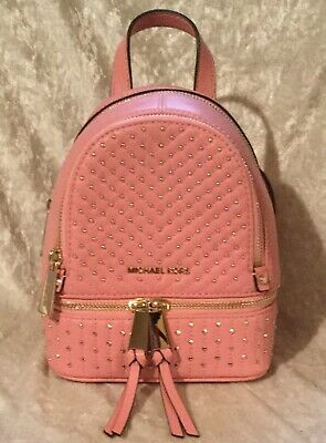 36fd58e02295 NWT MICHAEL KORS Rhea mini Snake-Embossed Leather Backpack ( Natural ...