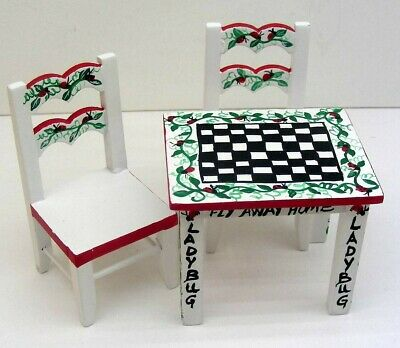 Dollhouse Miniature Hand-Painted Furniture PLAY TABLE & 2 CHAIRS 1:12 Ladybugs