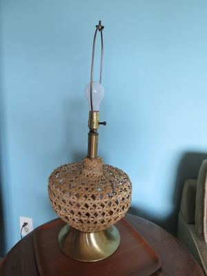 Vtg Woven Natural Wicker Table Lamp Base Only
