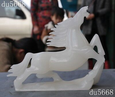Chinese natural white jade carving feng shui Pentium Zodiac animal horse statue