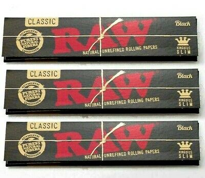 3 Packs Raw Black King Size Slim Rolling Papers Natural Unrefined *BEST PRICE*US