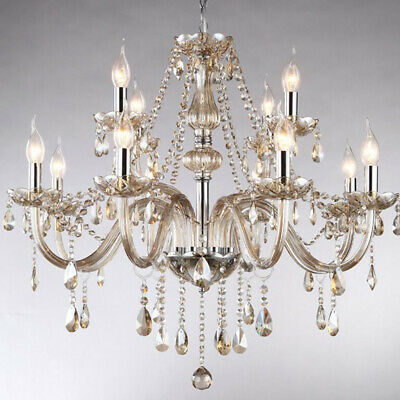 10+5 Double Dry Crystal Chandelier LED Living Room Hanging Light Shade Droplight