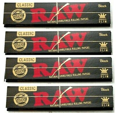 4 Packs Raw Black King Size Slim Rolling Papers Natural Unrefined *BEST PRICE*US