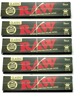 5 Packs Raw Black King Size Slim Rolling Papers Natural Unrefined *BEST PRICE*US