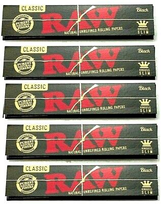 5 Pks Raw Black King Size Slim Rolling Papers Gold Letter Packs! USA Shipped