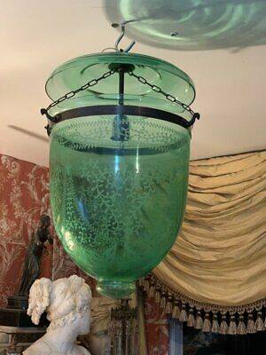 Vintage Hall Lantern Green  Antique Brass Bell Jar Ceiling Fixture chandelier