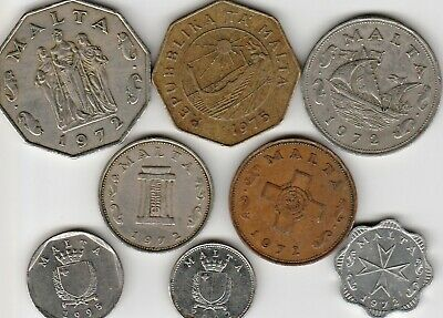 8 different world coins from MALTA