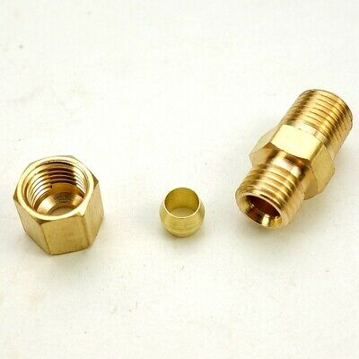 "5Pcs Brass Compression Fitting Male Straight Connector 1/4"" Tube OD X 1/4"" NPT"