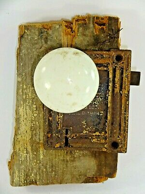 Antique Late 19th Century Ornate Cast Iron Door Rim Lock w/ Rusty Patina NO KEY