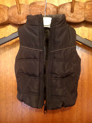 Unisex Black quilted puffy 2 pocket zipper up lined Vest Cotton on Baby Size 00