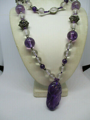 Antique Chinese Carved Amethyst & Crystall Beads Filigree Gilt Silver  Necklace