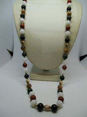 VINTAGE 12K GOLD FILLED  MULTI-COLOR  JADEITE JADE 8mm BEADED NECKLACE