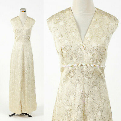 Vintage 1960s1970s cream and gold brocade maxi dress RETRO HOSTESS PARTY