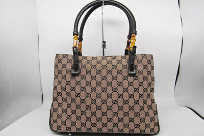 f67ad67e0fd6 Auth GUCCI Tote Bag Bamboo Canvas Leather GG Logo Italy Black Pink Beige  N-156