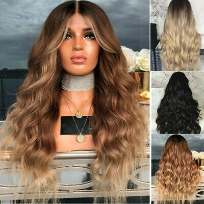 "28"" Ladies Ombre Blonde Long Curly Wigs Women Natural Full Wavy Hair Cosplay Wig"