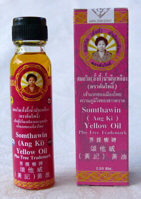Somthawin Yeiiow Oil muscle Pain Aroma Aches  Relieve Sprain Bruise Insect Bites