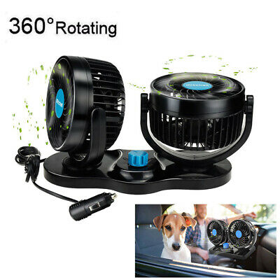 2 Speed 12V Twin Oscillating Fan 360° All-Round Cooling Cooler For Van Car Truck