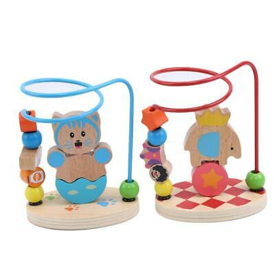 Children Kids Baby Colorful Wooden Mini Around Beads Educational Game Toy JA