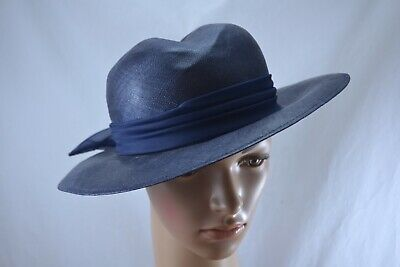 VINTAGE 1970s PETER BETTLEY navy blue sisal hat with bow occasion wedding Ascot