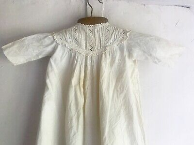 Antique Baby Gown French Off White Cotton Vintage Christening & Dolls / Projects