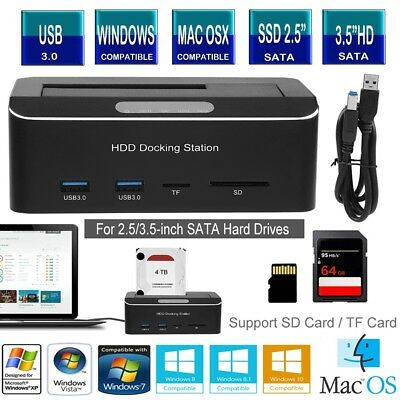 """USB 3.0 to SATA Hard Drive Docking Station with SD/TF Card Port for 2.5/3.5"""" HDD"""
