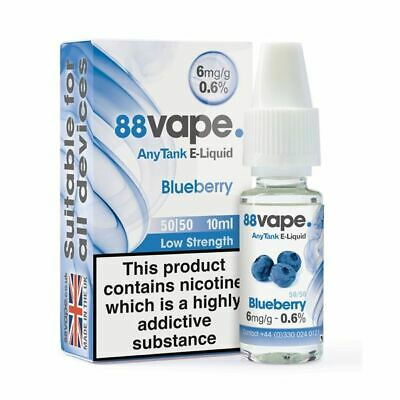 88VAPE VALUE Pack of 20 E-Liquids BLUEBERRY 6mg BULK BUY MADE IN THE UK