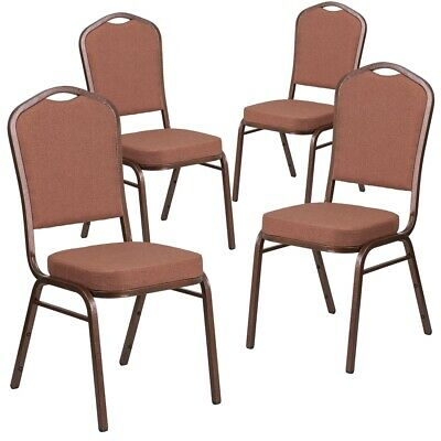 4 Pk. HERCULES Series Crown Back Stacking Banquet Chair with Brown Fabric...