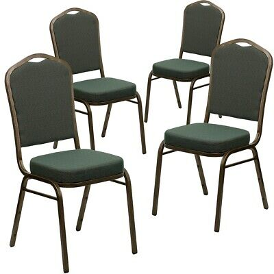 4 Pk. HERCULES Series Crown Back Stacking Banquet Chair with Green Patterned...