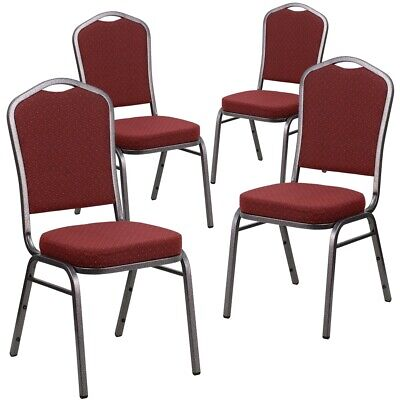 4 Pk. HERCULES Series Crown Back Stacking Banquet Chair with Burgundy...