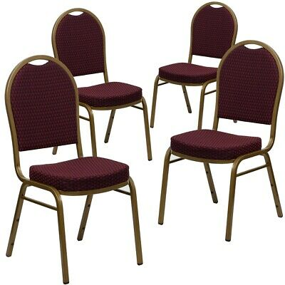 4 Pk. HERCULES Series Dome Back Stacking Banquet Chair with Burgundy...