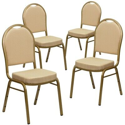 4 Pk. HERCULES Series Dome Back Stacking Banquet Chair with Beige Patterned...