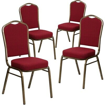 4 Pk. HERCULES Series Crown Back Stacking Banquet Chair with Burgundy Fabric...