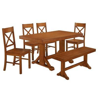 Millwright 6 Piece Wood Dining Set - Antique Brown