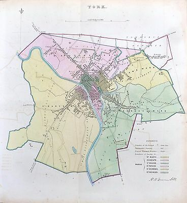 YORK - Original Antique Map + Boundary Commission Report, 1837.