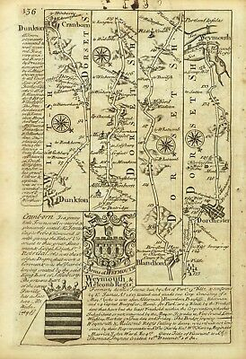 BLANDFORD FORUM via DORCHESTER to WEYMOUTH, Antique Road Map, Owen & Bowen, 1753