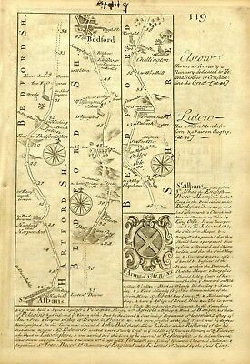 ST ALBANS via LUTON to  BEDFORD, Antique Road Strip Map, Owen & Bowen, 1753.