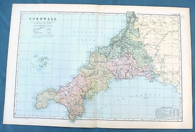 CORNWALL -  Original Large Antique County Map -  BACON , 1897.