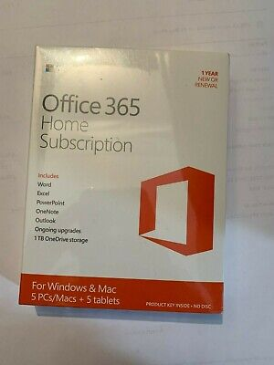 Microsoft Office 365 Home  1 Year Subscription For 5 PC, MAC And/ 5  tablets
