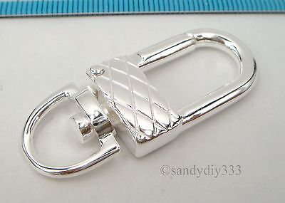 1x BRIGHT STERLING SILVER GIANT LOBSTER CLASP BEAD LOCK KEY RING 43mm #2377