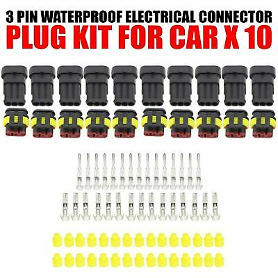 10 Kit 3 Pin Way Sealed Waterproof Electrical Wire Connector Plug Car Auto Set
