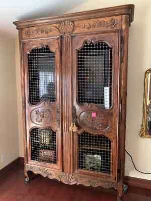 18th Century French Provencial Armoire with Wire doors Display Cabinet